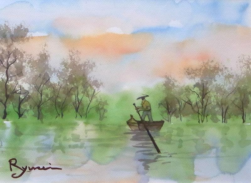 丹羽辰男様 の 水彩画 「帰去来の辞」 水彩画 「帰去来の辞」 丹羽辰男様の2つ目の作品で、こち